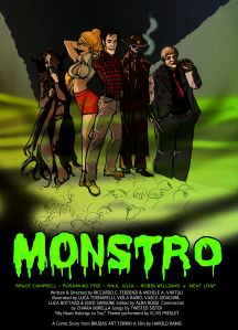 Monstro - bozza poster fluo